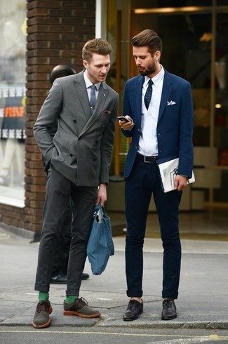 How to wear: grey double breasted blazer, white dress shirt, charcoal dress pants, olive suede derby shoes