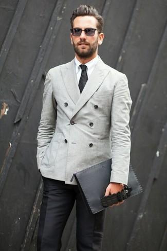 Black pants with grey jacket