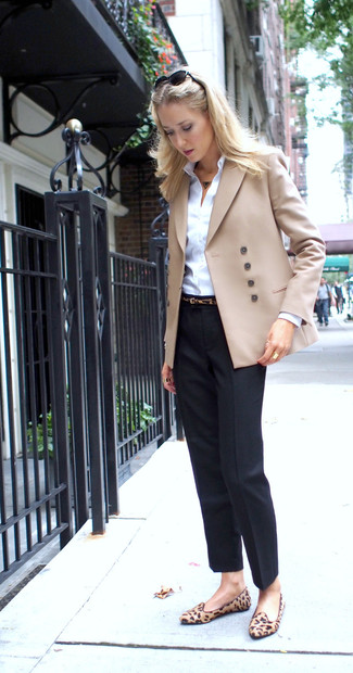 How to wear: beige double breasted blazer, white dress shirt, black dress pants, tan leopard suede loafers