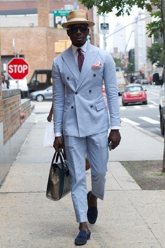 How to wear: light blue double breasted blazer, white dress shirt, light blue dress pants, navy suede tassel loafers