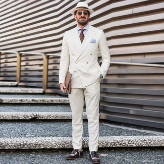 How to wear: white double breasted blazer, light blue dress shirt, white dress pants, black and white leather loafers