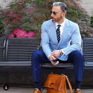 How to wear: light blue double breasted blazer, white dress shirt, blue dress pants, tobacco leather oxford shoes