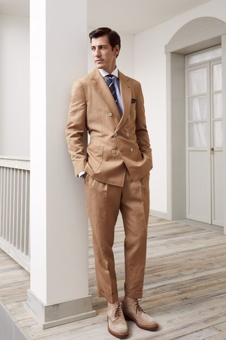 How to wear: tan double breasted blazer, light blue dress shirt, khaki dress pants, tan suede brogue boots