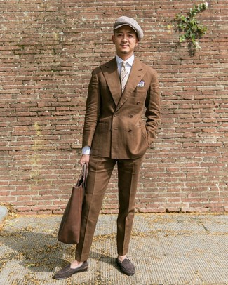 How to wear: brown double breasted blazer, white dress shirt, brown dress pants, dark brown suede loafers