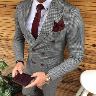 How to wear: grey check double breasted blazer, white dress shirt, grey check dress pants, burgundy tie