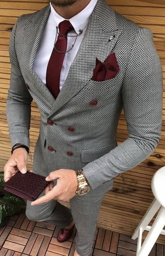 How to wear: grey check double breasted blazer, white dress shirt, grey check dress pants, burgundy leather tassel loafers