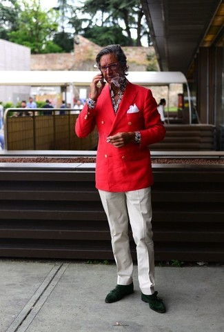 How to wear: red double breasted blazer, navy floral dress shirt, white dress pants, dark green suede oxford shoes
