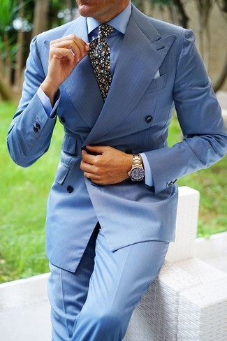 How to wear: light blue double breasted blazer, light blue dress shirt, light blue dress pants, black floral tie