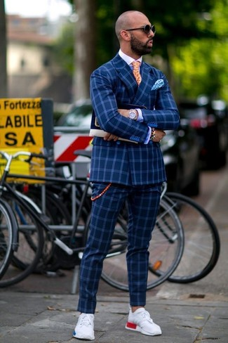How to wear: blue check double breasted blazer, blue dress shirt, blue check dress pants, white athletic shoes