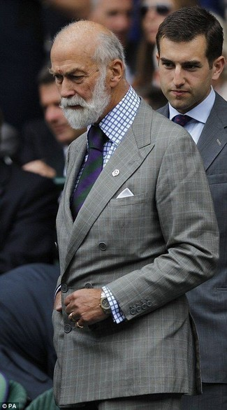 How to wear: grey check double breasted blazer, white and blue check dress shirt, grey check dress pants, violet vertical striped tie