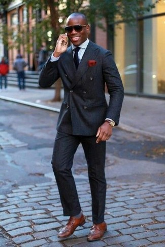 How to wear: black double breasted blazer, light blue dress shirt, black dress pants, brown leather derby shoes