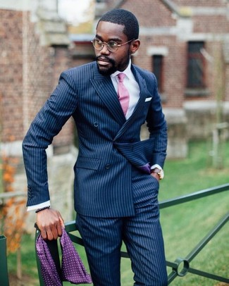 How to wear: navy vertical striped double breasted blazer, white dress shirt, navy vertical striped dress pants, pink tie