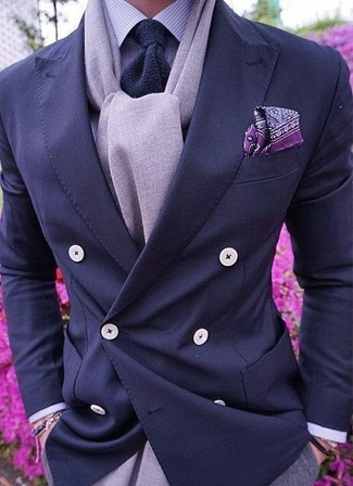 How to wear: navy double breasted blazer, light violet gingham dress shirt, grey dress pants, navy knit tie