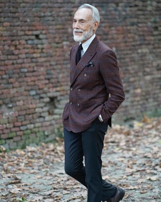 How to wear: dark brown check wool double breasted blazer, white dress shirt, black dress pants, black leather derby shoes