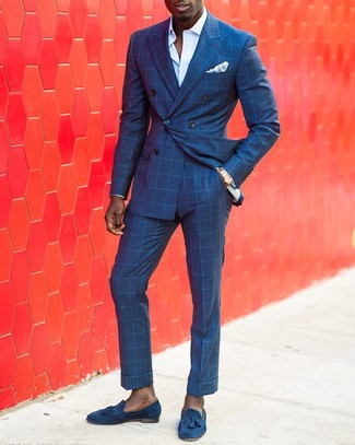 How to wear: blue check double breasted blazer, light blue dress shirt, blue check dress pants, blue suede tassel loafers