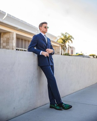Men's Blue Double Breasted Blazer, Light Violet Dress Shirt, Blue Dress Pants, Dark Green Leather Loafers