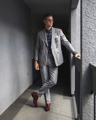 How to wear: grey wool double breasted blazer, navy and white floral dress shirt, grey wool dress pants, red leather double monks