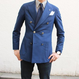 How to wear: blue double breasted blazer, white and navy vertical striped dress shirt, navy and green plaid dress pants, navy tie