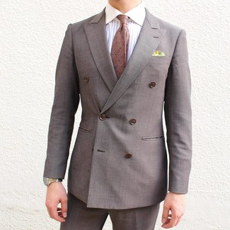 How to wear: brown double breasted blazer, white vertical striped dress shirt, brown dress pants, brown polka dot tie
