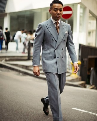 How to wear: grey double breasted blazer, white dress shirt, grey dress pants, dark brown leather oxford shoes