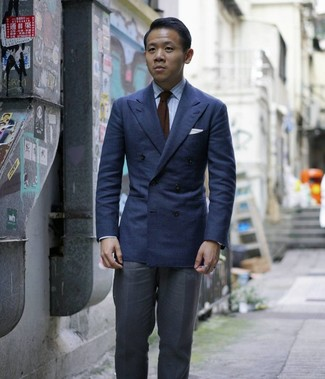 How to wear: navy double breasted blazer, light blue vertical striped dress shirt, charcoal dress pants, dark brown knit tie
