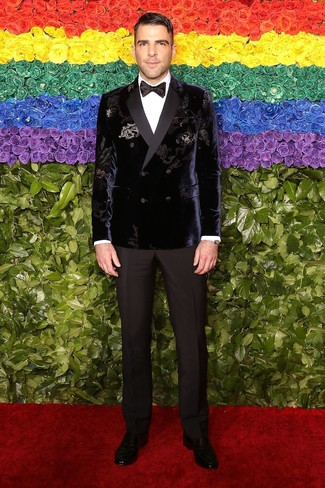 How to wear: violet velvet double breasted blazer, white dress shirt, black dress pants, black leather loafers