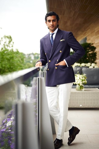 How to wear: navy double breasted blazer, white dress shirt, white dress pants, black leather tassel loafers