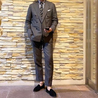 How to wear: charcoal double breasted blazer, white vertical striped dress shirt, charcoal dress pants, black suede tassel loafers