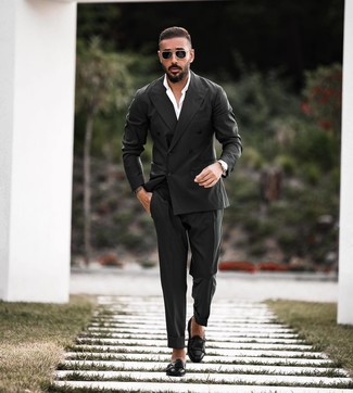 How to wear: black double breasted blazer, white dress shirt, black dress pants, black leather double monks
