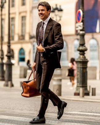 How to wear: dark brown double breasted blazer, white dress shirt, dark brown dress pants, black leather tassel loafers