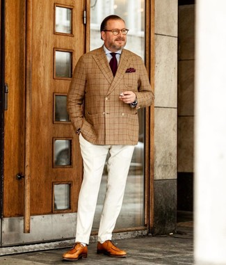 How to wear: tan plaid double breasted blazer, light blue dress shirt, white dress pants, tan leather derby shoes