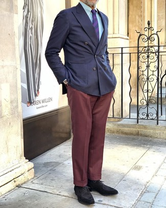 How to wear: navy double breasted blazer, light blue dress shirt, burgundy dress pants, black suede derby shoes
