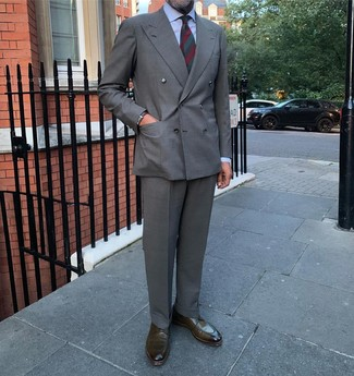 How to wear: grey double breasted blazer, light blue dress shirt, grey dress pants, olive leather derby shoes