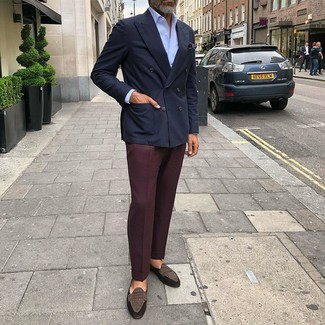 How to wear: navy double breasted blazer, light blue dress shirt, burgundy dress pants, dark brown suede loafers