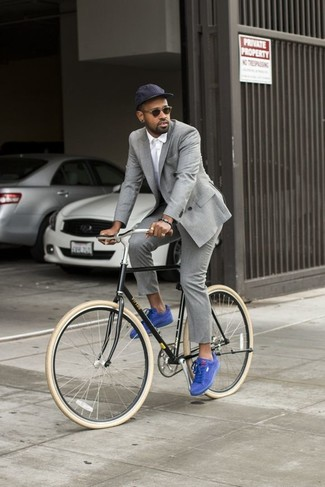 Men's Grey Double Breasted Blazer, White Dress Shirt, Grey Dress Pants, Blue Suede Low Top Sneakers