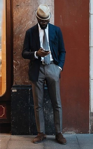 How to Wear Navy Horizontal Striped Socks For Men: Why not opt for a navy double breasted blazer and navy horizontal striped socks? As well as totally practical, both of these items look awesome when worn together. Feel uninspired with this getup? Introduce dark brown suede double monks to jazz things up.