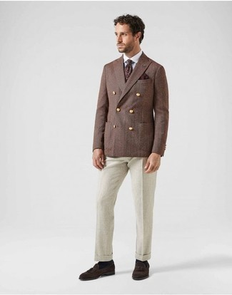 How to Wear a Burgundy Print Tie For Men: Consider pairing a brown double breasted blazer with a burgundy print tie for incredibly stylish style. Add dark brown suede tassel loafers to the mix to add a sense of stylish effortlessness to this look.