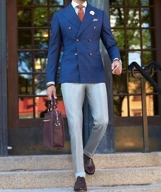 How to Wear Grey Dress Pants For Men: Teaming a blue check double breasted blazer with grey dress pants is an awesome pick for a dapper and elegant outfit. Dark brown leather oxford shoes finish off this ensemble quite nicely.
