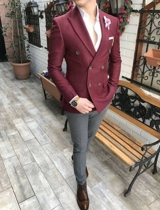 White Pocket Square Outfits: Such essentials as a burgundy double breasted blazer and a white pocket square are the perfect way to infuse some cool into your current wardrobe. Throw a pair of brown leather brogues into the mix for an instant style lift.