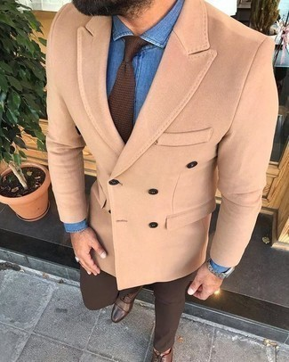 Brown Knit Tie Outfits For Men: This is undeniable proof that a tan wool double breasted blazer and a brown knit tie look awesome paired together in a refined look for today's man. A great pair of brown leather oxford shoes ties this ensemble together.