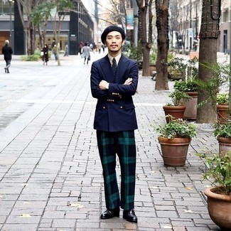 Black Leather Monks Outfits: This elegant pairing of a navy double breasted blazer and navy and green plaid dress pants is a must-try look for any modern guy. Complement your outfit with black leather monks to immediately boost the appeal of this ensemble.