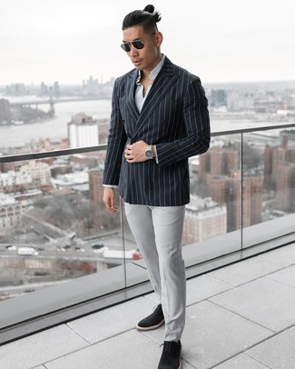 White Vertical Striped Dress Shirt Outfits For Men: Putting together a white vertical striped dress shirt and grey dress pants is a guaranteed way to infuse your daily styling arsenal with some rugged sophistication. Add a confident kick to the ensemble with black suede brogues.