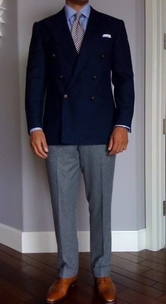 Navy Double Breasted Blazer Outfits For Men: You'll be surprised at how very easy it is to throw together this elegant menswear style. Just a navy double breasted blazer worn with grey dress pants. Feeling adventerous? Jazz up your ensemble by sporting a pair of tobacco leather oxford shoes.