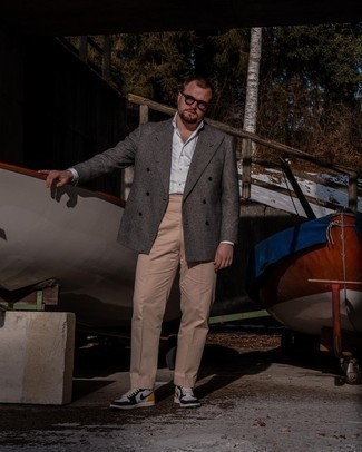 Clear Sunglasses Outfits For Men: To achieve a relaxed casual getup with a modern finish, go for a charcoal plaid wool double breasted blazer and clear sunglasses. White and black leather high top sneakers tie the getup together.