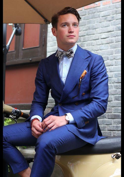 Men S Blue Double Breasted Blazer Light Blue Vertical Striped Dress