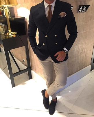 How to wear: black double breasted blazer, white dress shirt, beige dress shirt, dark brown suede double monks