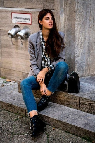 How to wear: grey double breasted blazer, white and black gingham dress shirt, blue jeans, black embellished leather ankle boots