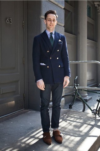 How to Wear Black Jeans In a Dressy Way For Men: This combo of a navy double breasted blazer and black jeans is a safe bet when you need to look on-trend in a flash. Dark brown suede double monks will inject an added dose of style into an otherwise standard ensemble.