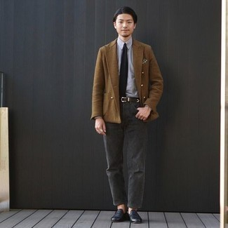 Men's Brown Double Breasted Blazer, Grey Dress Shirt, Charcoal Jeans, Black Leather Loafers