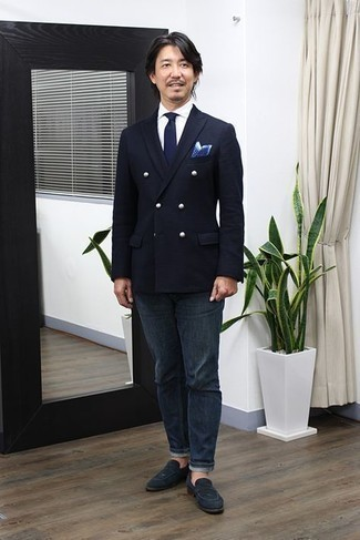 Navy and White Polka Dot Pocket Square Outfits: A black double breasted blazer and a navy and white polka dot pocket square are amazing menswear must-haves that will integrate perfectly within your casual arsenal. If you need to easily bump up your ensemble with one piece, why not introduce navy suede loafers to the equation?